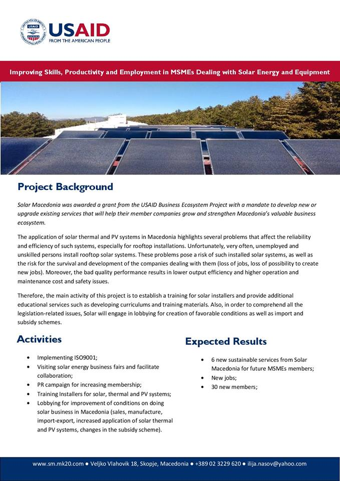Solar Macedonia was awarded a grant from the USAID Business Ecosystem Project